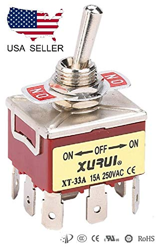 FULL THROTTLE - Heavy Duty 3PDT ON-Off-ON Toggle Switch 20A 125V, 15A 250V Spade Terminals (33A)