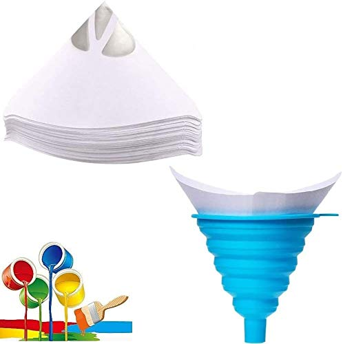 100 Stück Lacksiebe, Einweg Farbe Papier Siebe mit 1 Stück Silikon Filter für Autolack Lacksieb Farbsiebe Lackfilter Lackierzubehör