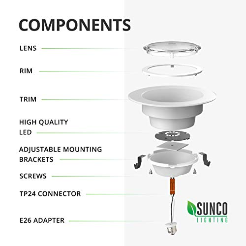 Sunco Lighting 4 Inch LED Recessed Downlight, Baffle Trim, Dimmable, 11W=40W, 3000K Warm White, 660 LM, Damp Rated, Simple Retrofit Installation - UL + Energy Star