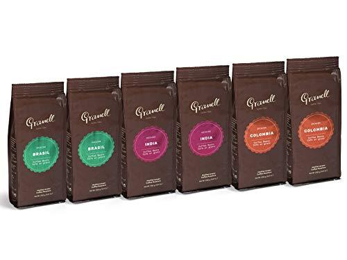 Granell - Pure Origin - Pack Degustación Orígenes   Cafe en Grano 100% Café Arabica - 2 x Café Brasil, 2 x Café Colombia, 2 x Café India - Pack 6, 250g unidad