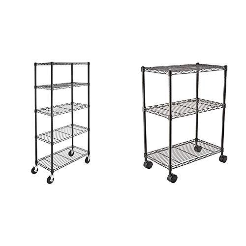 AmazonBasics 5-Shelf Shelving Storage Unit on 4'' Wheel Casters, Black (30L x 14W x 64.75H) & 3-Shelf Heavy Duty Shelving Storage Unit on 2' Wheel Casters, Black (23.2L x 13.4W x 32.75H)