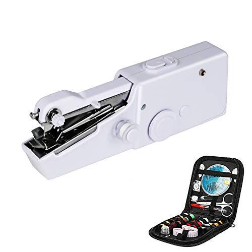 Máquina de coser de mano, mini Puntada eléctrica portátil con accesorios de costura Herramienta doméstica de puntada eléctrica portátil para tela, ropa, viajes en casa, color blanco
