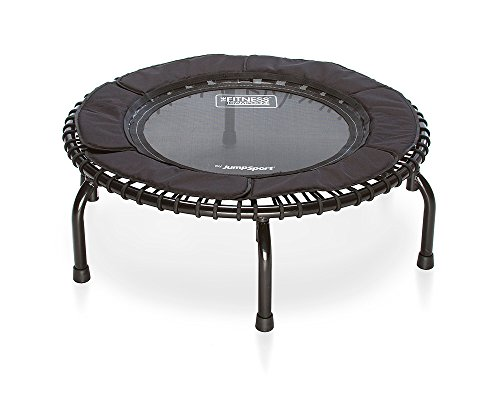 JumpSport 250 In Home Cardio Fitness Rebounder - Durable Silent Bounce Mini Trampoline with Premium Bungees, Workout DVD, and Online Access to Video Workouts - Safe and Stable