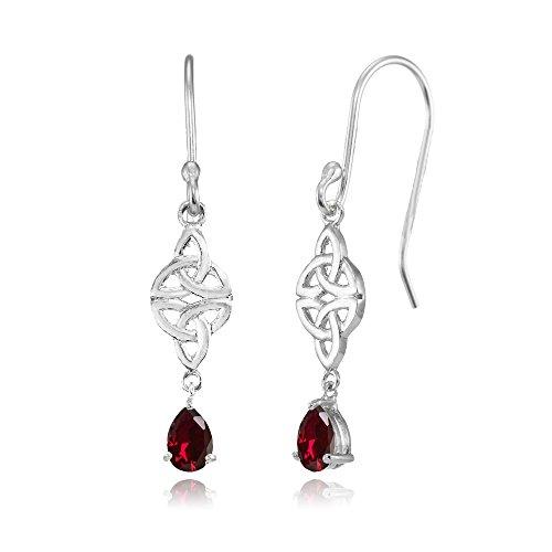 Sterling Silver Created Ruby Celtic Trinity Knot Teardrop Dangle Drop Earrings