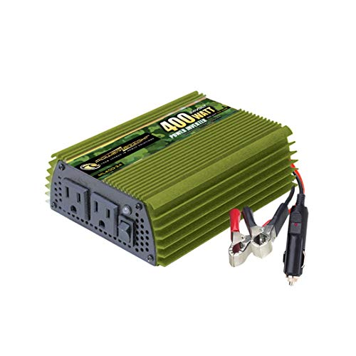Power Bright 400 Watt 24V Power Inverter, Dual 110V AC Outlets, Modified Sine Wave, Back Up Power Supply for Small appliances, Battery Cables with Clamps for Simple Battery Connection Included