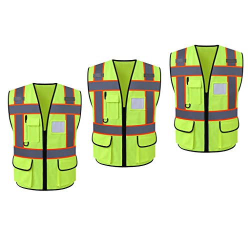 H HILABEE Chaleco Reflectante de Seguridad con Diseño de Cremallera, Suave y Duradero - 3pcs