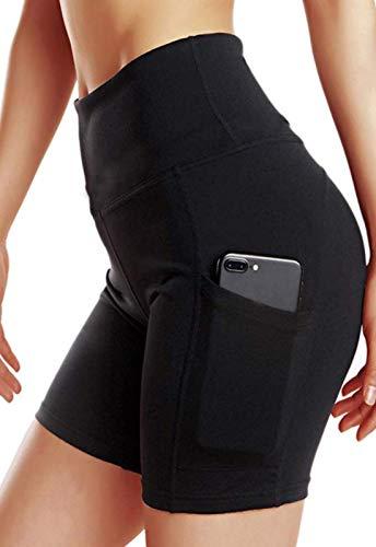 FITTOO Pantalones Cortos Clásico Leggings Mujer Mallas Yoga Alta Cintura Elásticos Transpirables #3 Negro & Cremallera XL