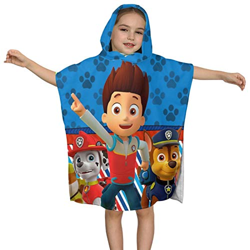 Patrol Bath Towel Kids Hooded Bath Towel Boys Girls Poncho Wrap Bath and Beach Soft Cotton Chase Rubble Marshall Blue