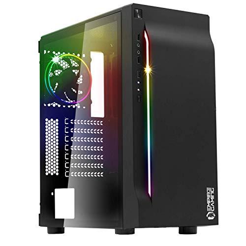 EMPIRE GAMING – Case PC Gamer MX5 PRO ARGB Mid-Tower ATX – Pannello Frontale Incurvato LED RGB direzionabili e Pannello Laterale in Vetro temperato – 1 Ventola LED RGB direzionabili 120 mm