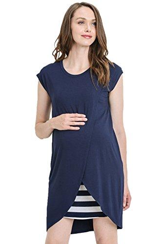 Hello Miz Color Block Asymmetrical Breastfeeing Maternity Nursing Dress...