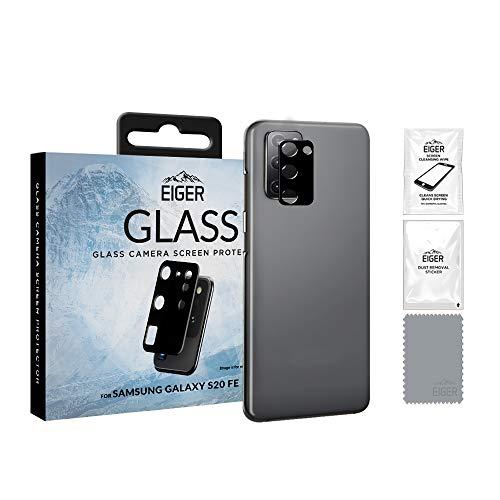 EIGER Protector de lente de fibra de vidrio para Samsung Galaxy S20 FE, transparente con kit de limpieza