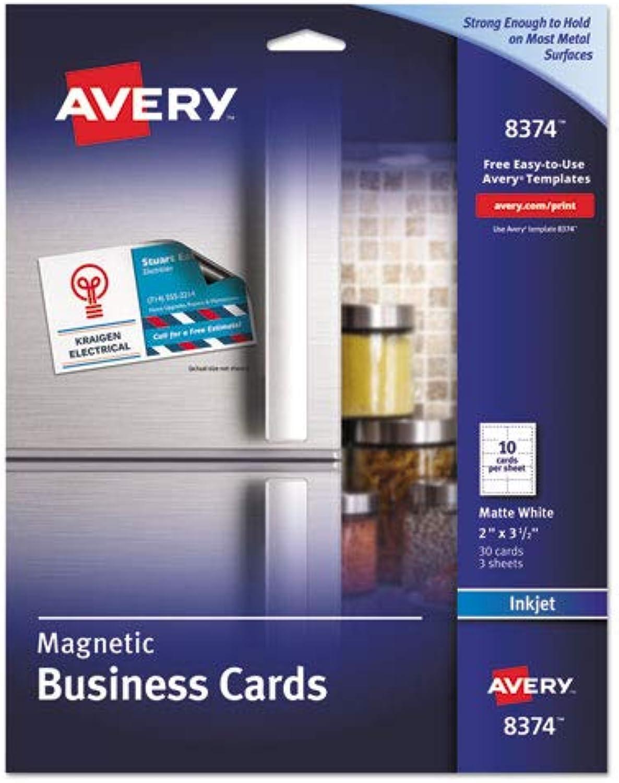 Avery – magnetische Visitenkarten, 2 x 3 1 2, weiß, weiß, weiß, 10 Bogen, 30 Pack 8374 (DMI PK B00Q4K6O8W | Internationale Wahl  92fe52