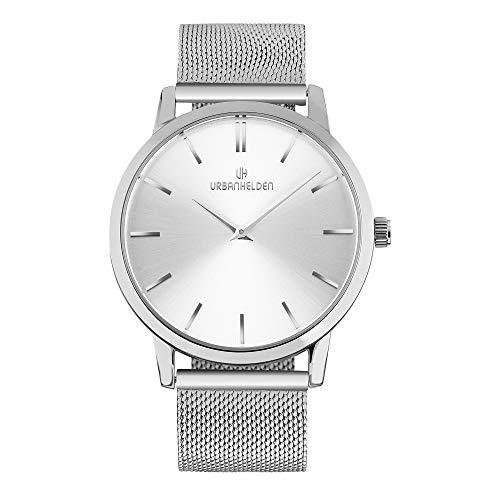 URBANHELDEN Armbanduhr Shine mit Mesharmband - Edelstahl Saphirglas Schweizer Quarzwerk 40 mm - Universal Damen u. Herren Uhr Metall Silber