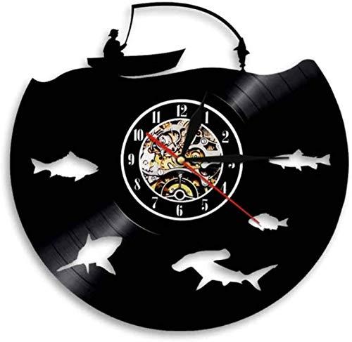 ZZLLL Reloj de Pared de Vinilo Logo de Pesca con Mosca Fiesta de Pesca Gente Cueva decoración Moderno Gran Anzuelo Pescador Regalo de papá Disco de Vinilo Reloj de Pared CD Art Vinilo Reloj de Pared