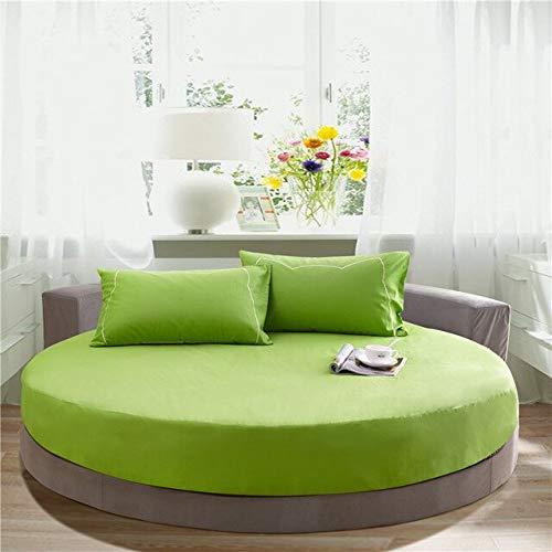 Heguowei Sábana Ajustable Redonda de algodón Romántico Color sólido Sábana Redonda Juego de Cama Funda de colchón Topper 200cm * 220cm Hotel temático