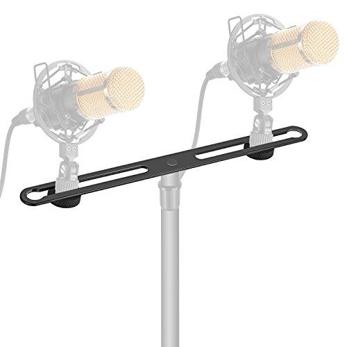 Neewer Barretta di Montaggio Regolabile in Lega di Zinco con Viti 5/8', per Fissaggio di 2 Microfoni o Aste di Microfono o Supporti Anti-vibrazione per Conferenze Stampa