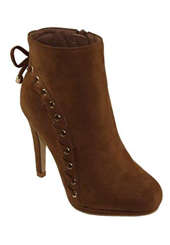 dbdk ankle boots DBDK Women's Sazilu-13 Faux Suede Almond Toe Side Zip Closure High Heel Ankle Booties