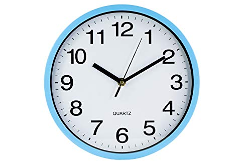 N/A 10 Inch Round Quartz Wall Clock Non Ticking for Home Battery Operated Easy to Read