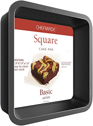 CHEFMADE Square Cake Pan, 8-Inch Bakeware Non-Stick Carbon Steel Pan Deep Dish Oven Baking Mold Baking Tray Ovenware for Cakes, Bread, Pizza, Cookies