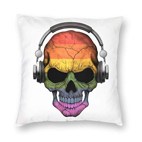 AEMAPE Throw Pillow Covers, Skull with Gay Pride Rainbow Flag Decorative Square Throw Pillow Cases Soft Soild Cushion Covers for Sofa Couch Bed Chair,18x18 in