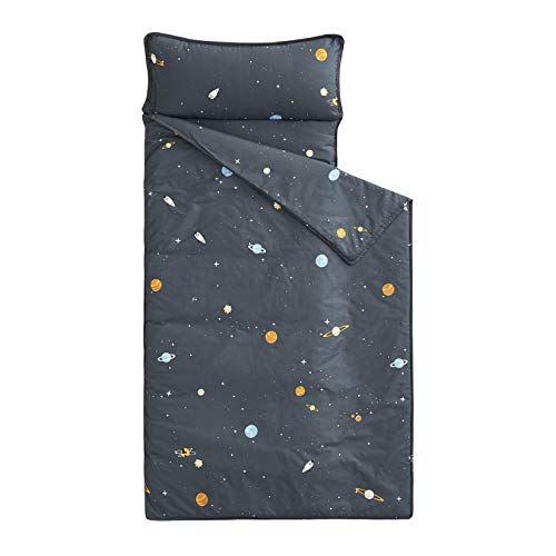 "Wake In Cloud - Nap Mat with Removable Pillow for Kids Toddler Boys Girls Daycare Preschool Kindergarten Sleeping Bag, Space Stars Rockets on Gray Grey, 100% Cotton with Microfiber Fill (55""x20"")"