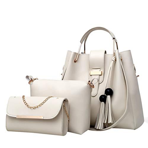 QitunC Bolso Mujer Bolso De 3 Piezas Set Bolso Bandolera Tote Grande Shopper Bolso de Hombro Juego de 3 Piezas (Beige Blanco, 3Pcs)