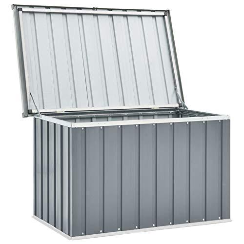 Festnight Gartenbox Wasserdicht Groß Metall Auflagenbox Garten Aufbewahrungsbox Draußen Kissenbox Gerätebox Gartentruhe Terrasse Balkon Outdoor Indoor, Grau 109x67x65 cm
