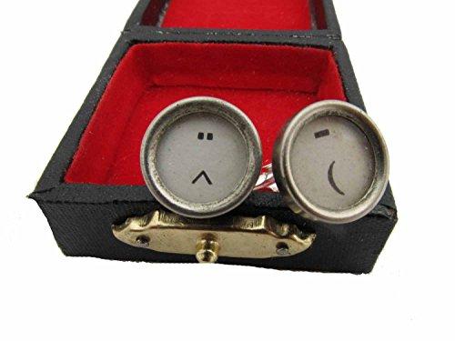 Miniblings Smiley Manschettenknöpfe Schreibmaschinentaste Schriftzeichen weiß - Herrenschmuck Manschettenknopf Cufflinks Hemdknöpfe I Holzbox inklusive