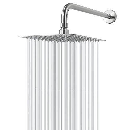 Rain Shower Head With Extension Arm, NearMoon Square Shower Heads, Large...