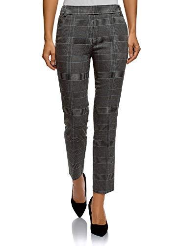 oodji Ultra Mujer Pantalones Ajustados con Cintura Elástica, Gris, ES 44 / XL