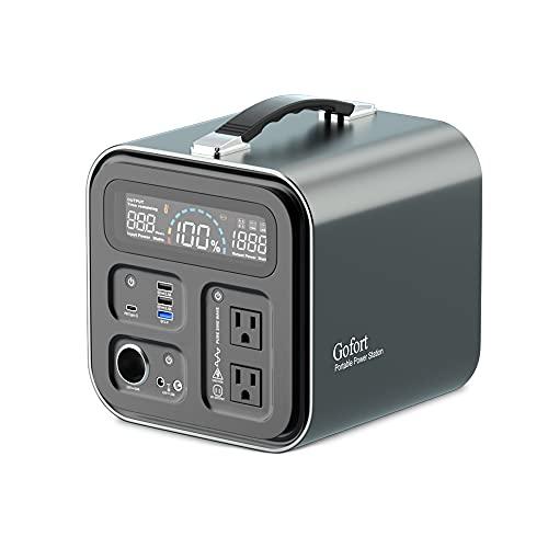 Gofort ポータブル電源 600W 大容量 148800mAh/550Wh 家庭用蓄電池 純正弦波 AC(600W 瞬間最大1000W)/DC/USB/Type-C出力 急速充電QC3.0 LEDライト 50Hz/60Hz切替 MPPT制御方式 ソーラ
