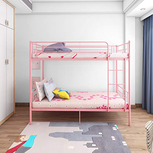Panana 4 Colors Available Twins Single Bunk Bed 2pcs 3FT Metal Bed for Twins Adults Bedroom (Pink)