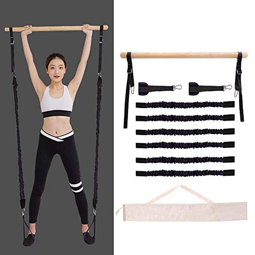 Verstelbare Pilates Bar Kit Yoga Oefening Resistance Band, Houten Pool Pilates Stick met Foot Loop, Workout Fitness Bands met 2/4/6 Stretch Touwen (Color : Black, Size : 2 stretch ropes)