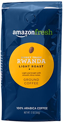 AmazonFresh Direct Trade Rwanda Ground Coffee, Light Roast, 12 Ounce