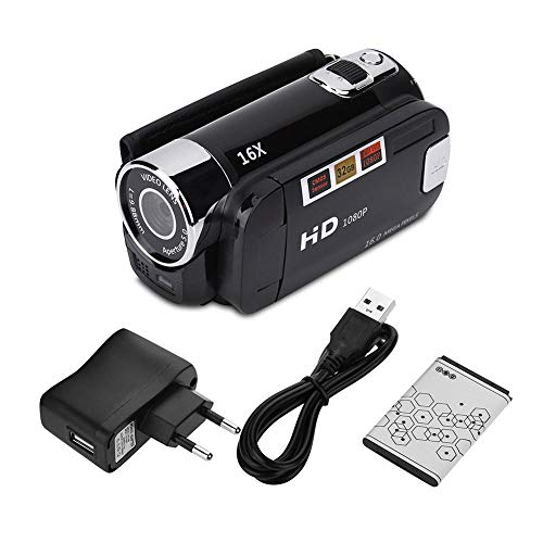 Socobeta Camcorder Digitalkamera Full HD 270 ° Drehung 1080P 16X High Definition Digital Camcorder Video DV Kamera(EU-SCHWARZ)