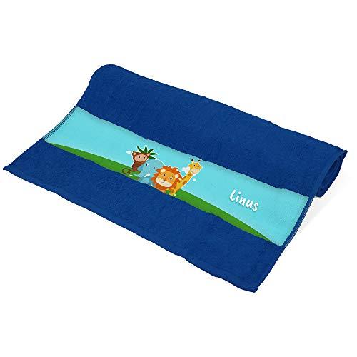Handtuch mit Namen Linus und Tier-Motiv mit AFFE, Elefant, Löwe und Giraffe für Jungen | Kinder-Handtuch Bedruckt | Farbe: Blau | 50 x 100cm