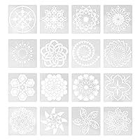 EXCEART 16個曼荼羅ステンシルペットステンシルセット子供絵画テンプレートステンシル金型diy工芸品スクラップブックアルバム紙カード