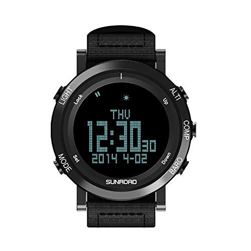 xMxDESiZ SUNROAD 50m wasserdichte LCD Digital-Hintergrundbeleuchtung Barometer Thermometer Armbanduhr Schwarz