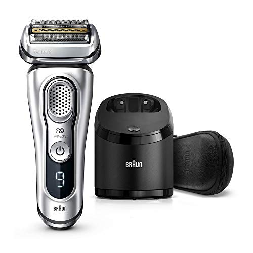Braun Electric Razor for Men, Series 9 9390cc, Electric Shaver, Pop-Up Precision Trimmer, Rechargeable, Cordless Foil Shaver, Clean & Charge Station and Leather Travel Case, Silver