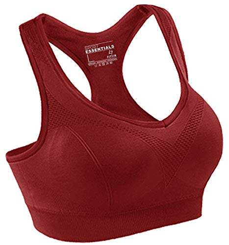FITTIN Racerback Sports Bras - Padded Seamless for Yoga Workout Gym Fitness Red Small