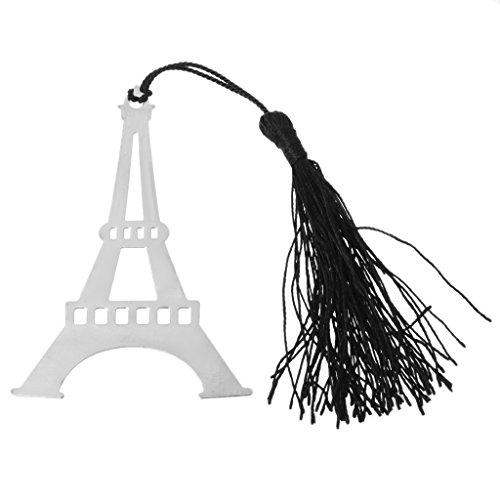 SQLang Eiffel Tower Metal Black Tassels Bookmark Hollow Design Wedding Party Gift Favor