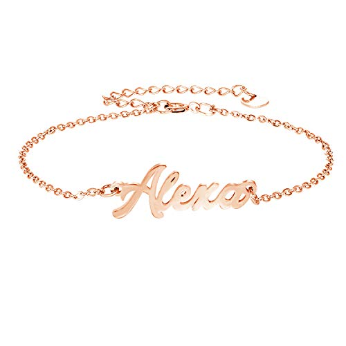 YINSHIFU Personalized Name Bracelet, 18k Rose Gold Plate Link Bracelet Anklet Custom Made Jewelry in Any Name Gift for Women Girls (A Custom Name Rose Gold)