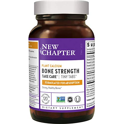 New Chapter Calcium Supplement – Bone Strength Whole Food Calcium with Vitamin K2 + D3 + Magnesium, Vegetarian, Gluten Free - 120 ct Tiny Tabs (20 day supply)
