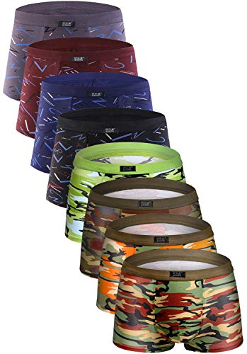 Youlehe Men's Underwear Soft Bamboo Boxer Briefs Stretch Trunks Pack (Large, 8 Pack 012)