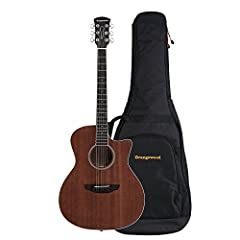 Cutaway style acoustic guitar featuring layered mahogany top and layered mahogany back & sides in open pore finish Includes: premium gig bag, optional pickguard for installation, and adjustment tools Equipped with Medium Light strings with gauges 12-...
