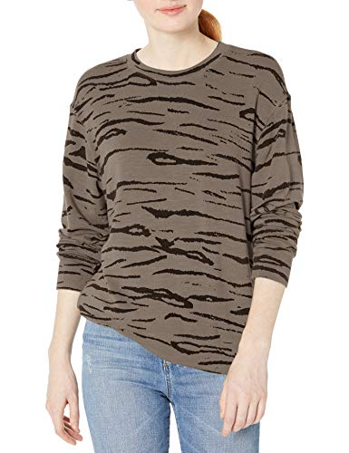 Monrow Women's Tiger Boyfriend Sweatshirt, Stone, Medium