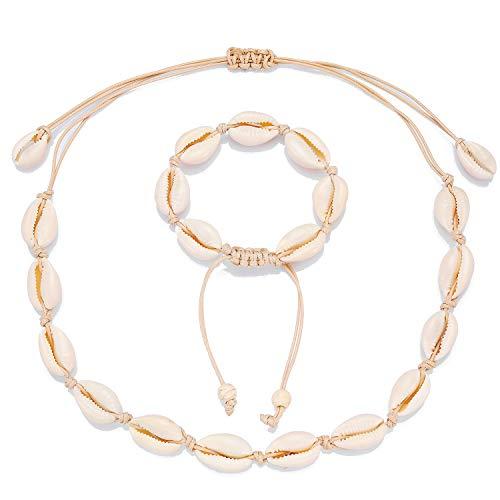 Starain Natural Shell Necklace Anklet for Women Handmade Adjustable Puka Beach VSCO Girl Shell Necklace Set