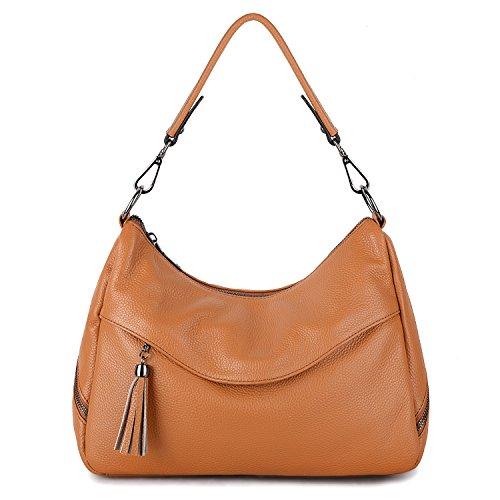YALUXE Women's Cowhide Leather Purse Tote Shoulder Bag Handbag brown