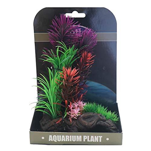 BETTA Natural Gardens Plants Rock Base Artificial Aquarium Ornament, Fish Safe Resin