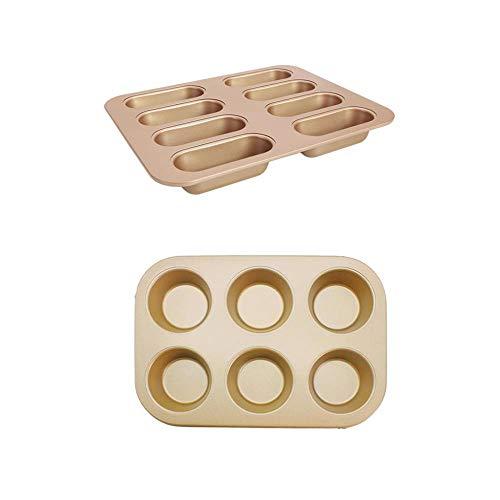 NewbieBoom Twinkie Pfanne aus Karbonstahl, 8 Tassen, antihaftbeschichtet, für Hot Dog Dutts, Muffins, Brot, 1